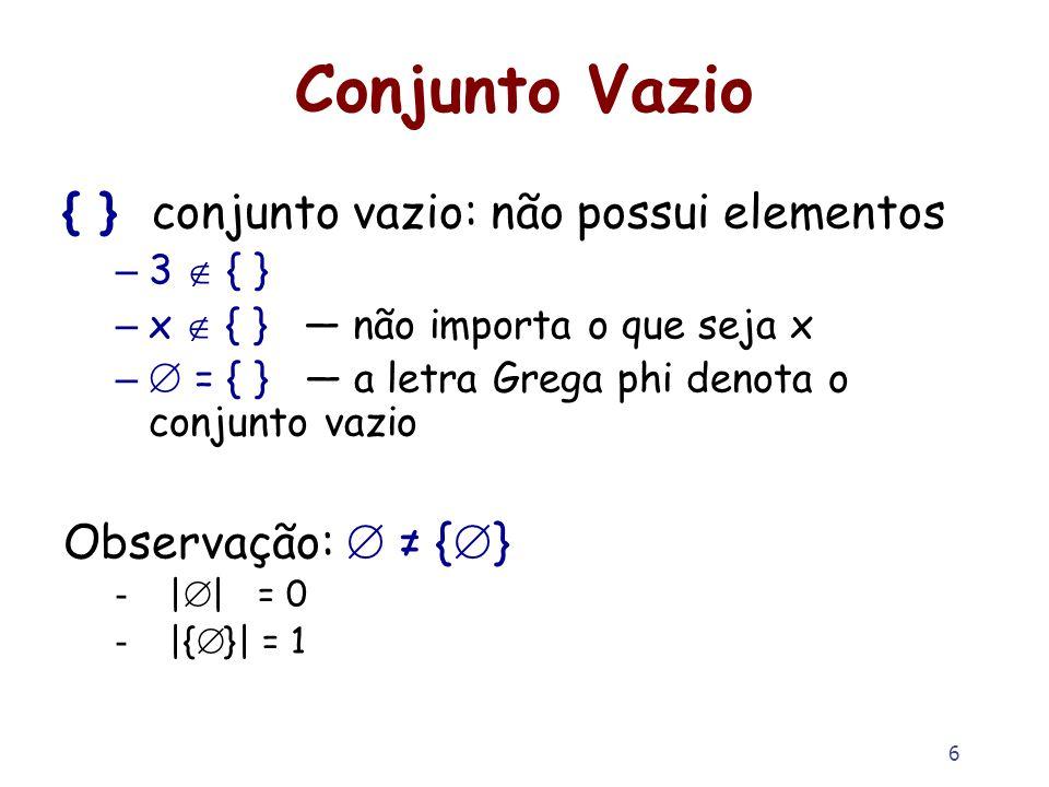 Conjunto Vazio { } conjunto vazio: não possui elementos
