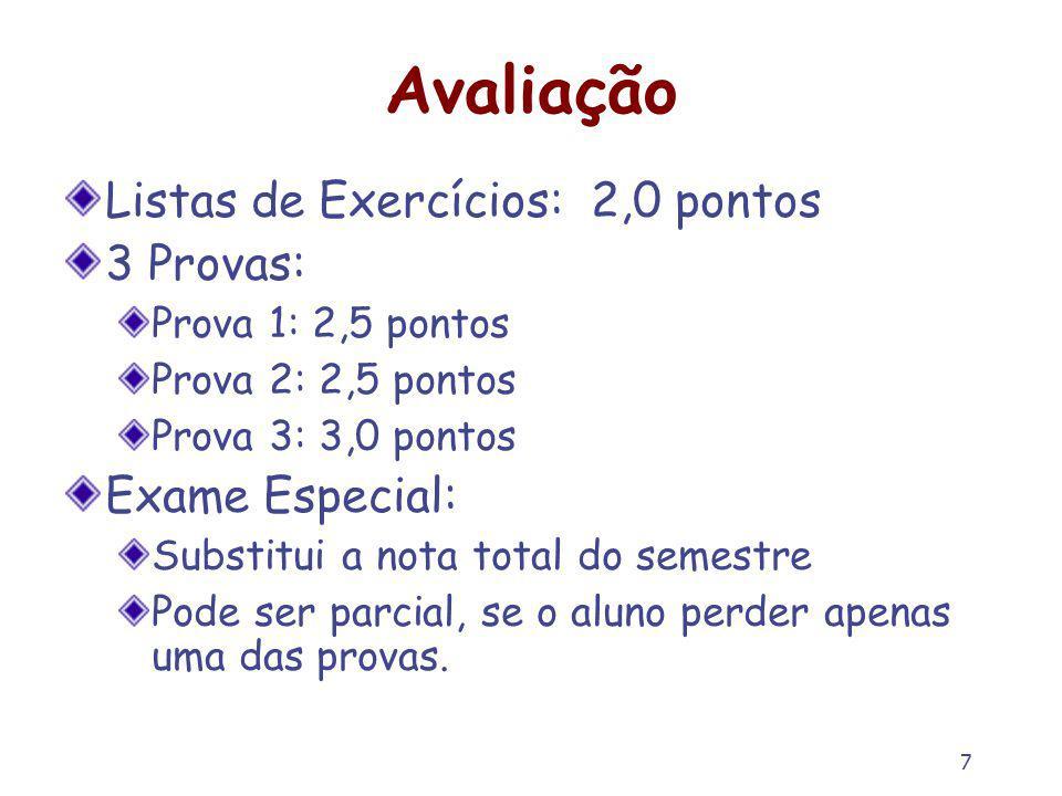 Avaliação Listas de Exercícios: 2,0 pontos 3 Provas: Exame Especial: