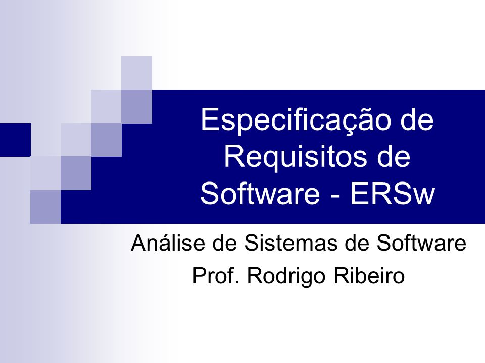 Especificação de Requisitos de Software - ERSw
