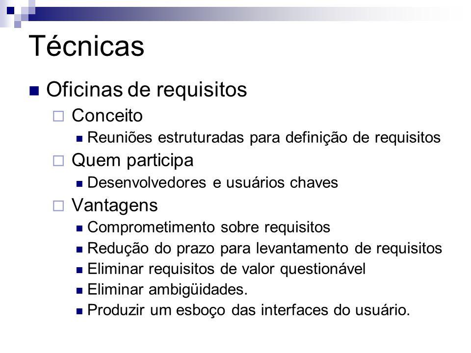 Técnicas Oficinas de requisitos Conceito Quem participa Vantagens