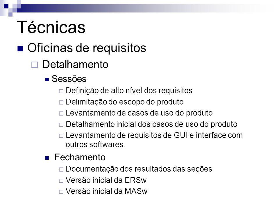 Técnicas Oficinas de requisitos Detalhamento Sessões Fechamento