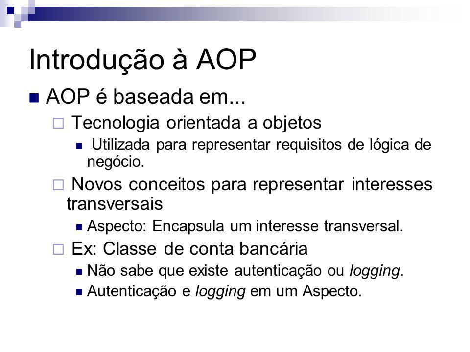 Introdução à AOP AOP é baseada em... Tecnologia orientada a objetos