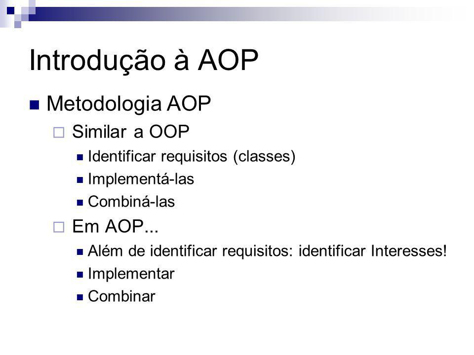 Introdução à AOP Metodologia AOP Similar a OOP Em AOP...