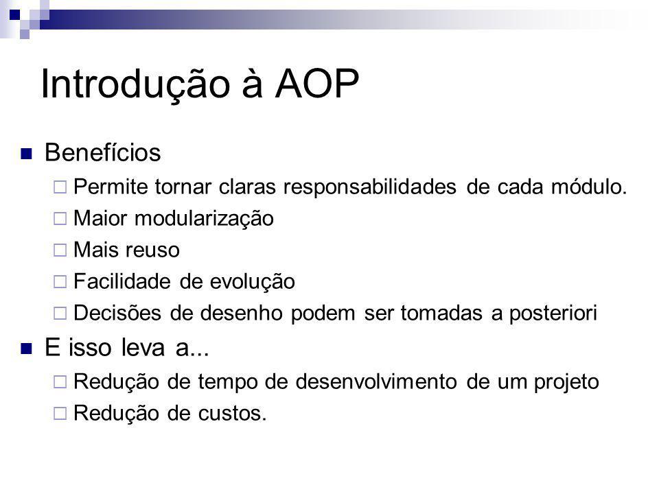 Introdução à AOP Benefícios E isso leva a...