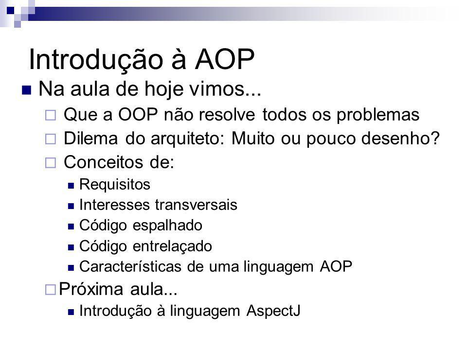 Introdução à AOP Na aula de hoje vimos...