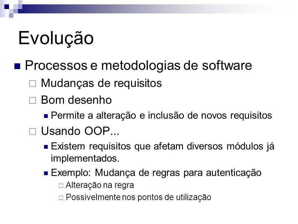Evolução Processos e metodologias de software Mudanças de requisitos