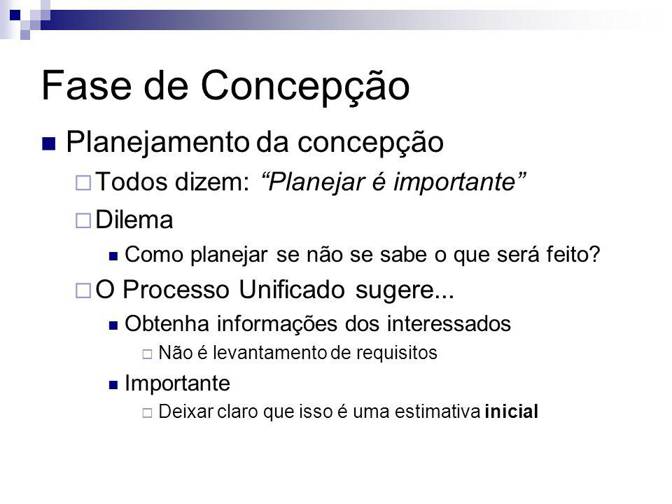Fase de Concepção Planejamento da concepção