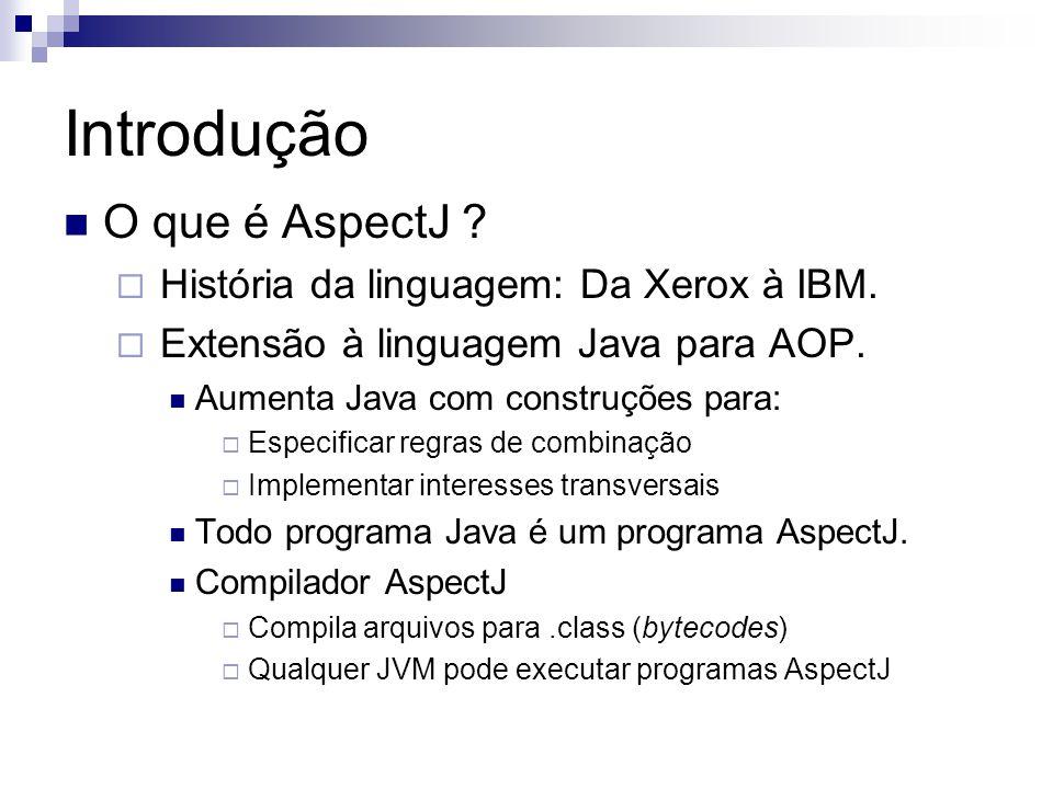 Introdução O que é AspectJ História da linguagem: Da Xerox à IBM.