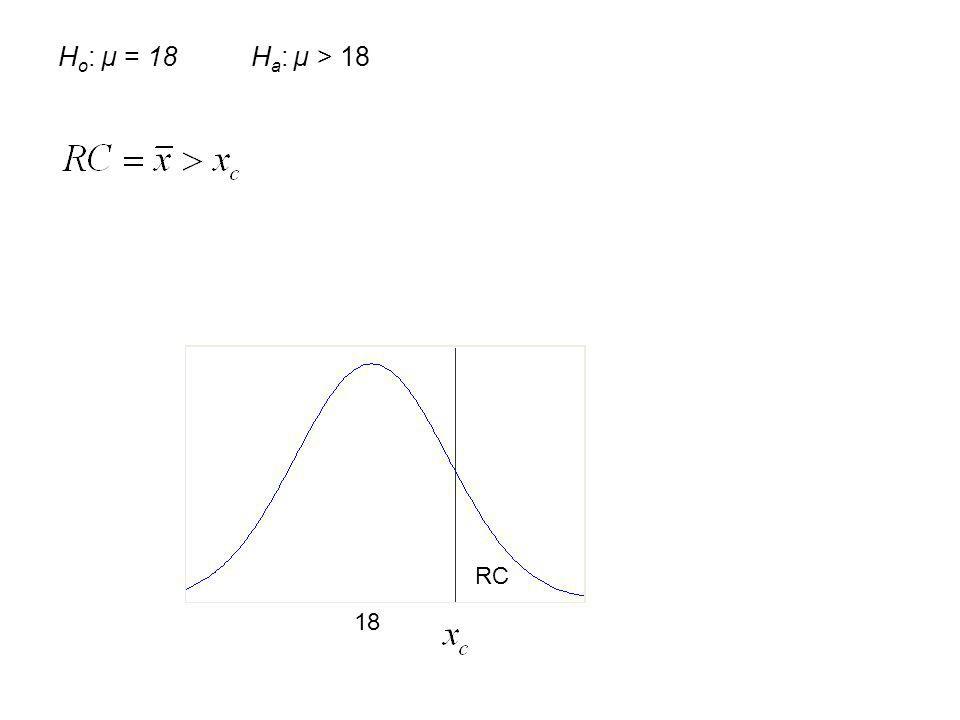 Ho: µ = 18 Ha: µ > 18 RC 18