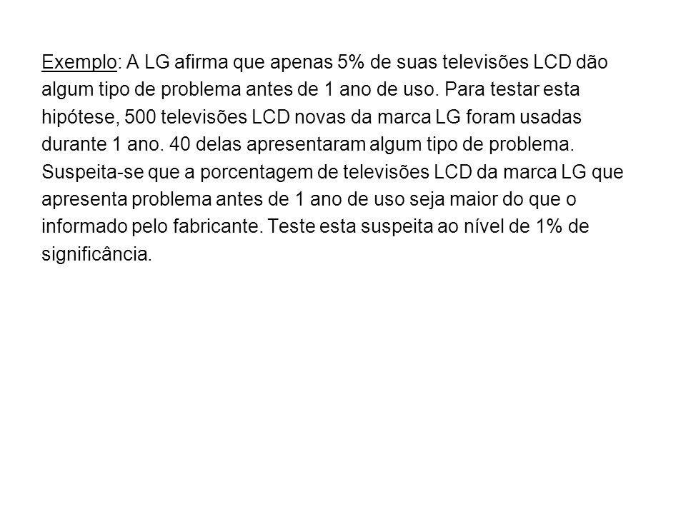 Exemplo: A LG afirma que apenas 5% de suas televisões LCD dão