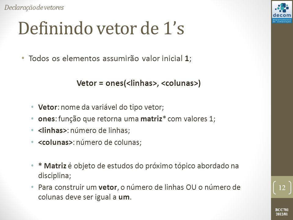 Vetor = ones(<linhas>, <colunas>)