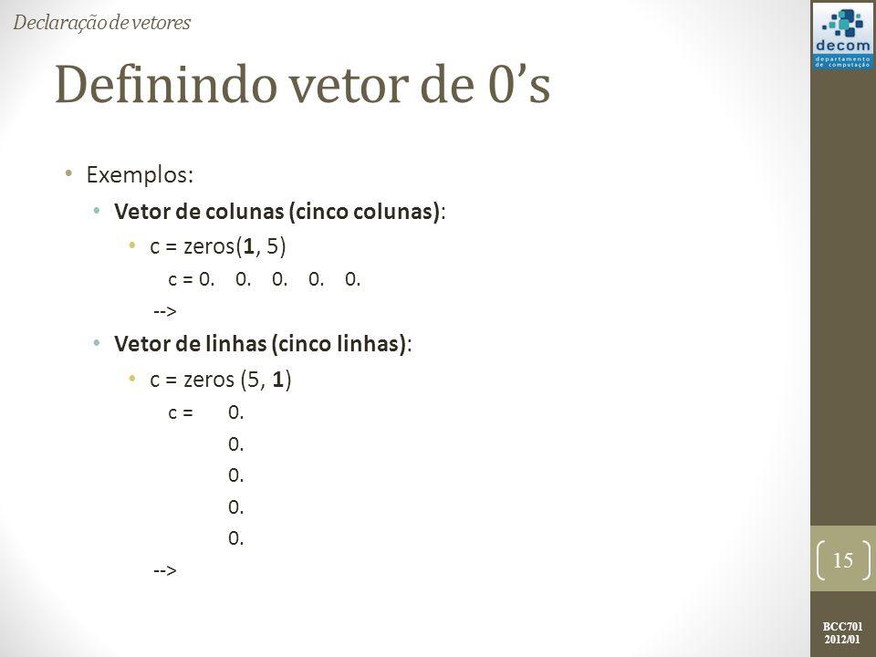 Definindo vetor de 0's Exemplos: Vetor de colunas (cinco colunas):