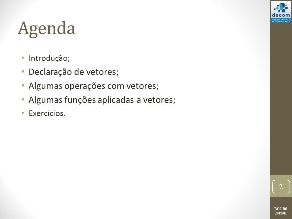 Agenda Declaração de vetores; Algumas operações com vetores;