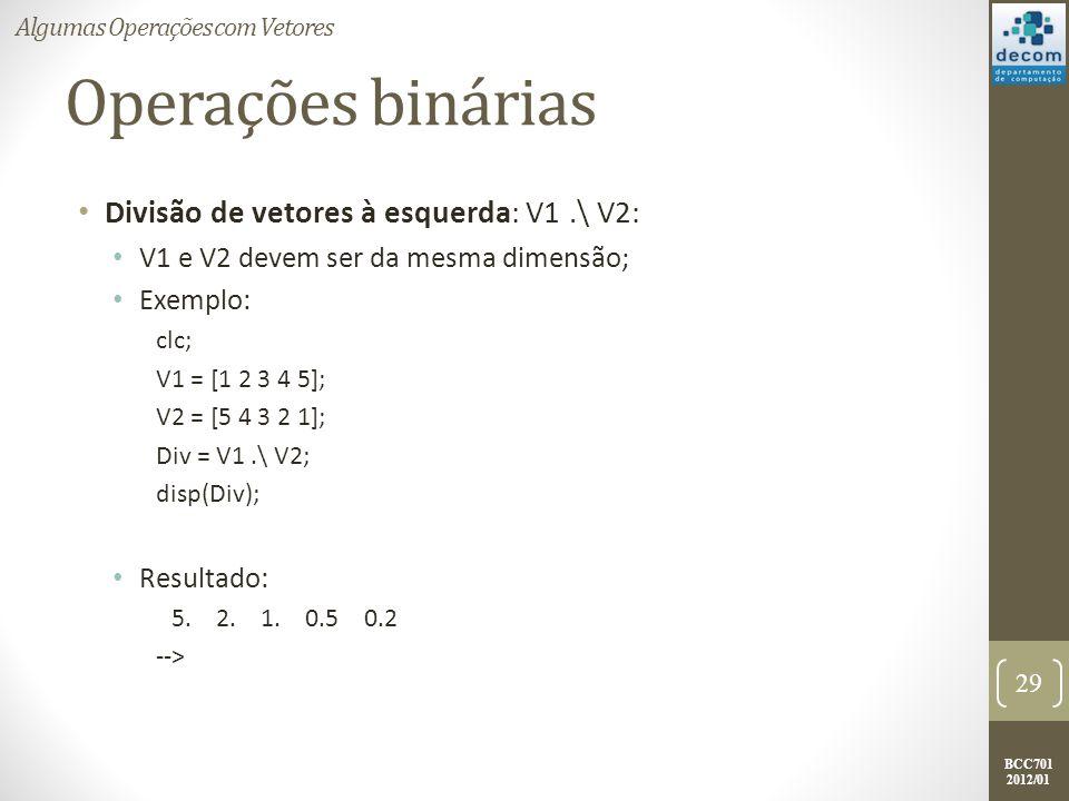 Operações binárias Divisão de vetores à esquerda: V1 .\ V2: