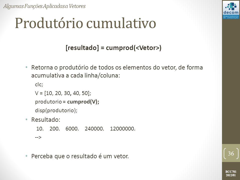 Produtório cumulativo