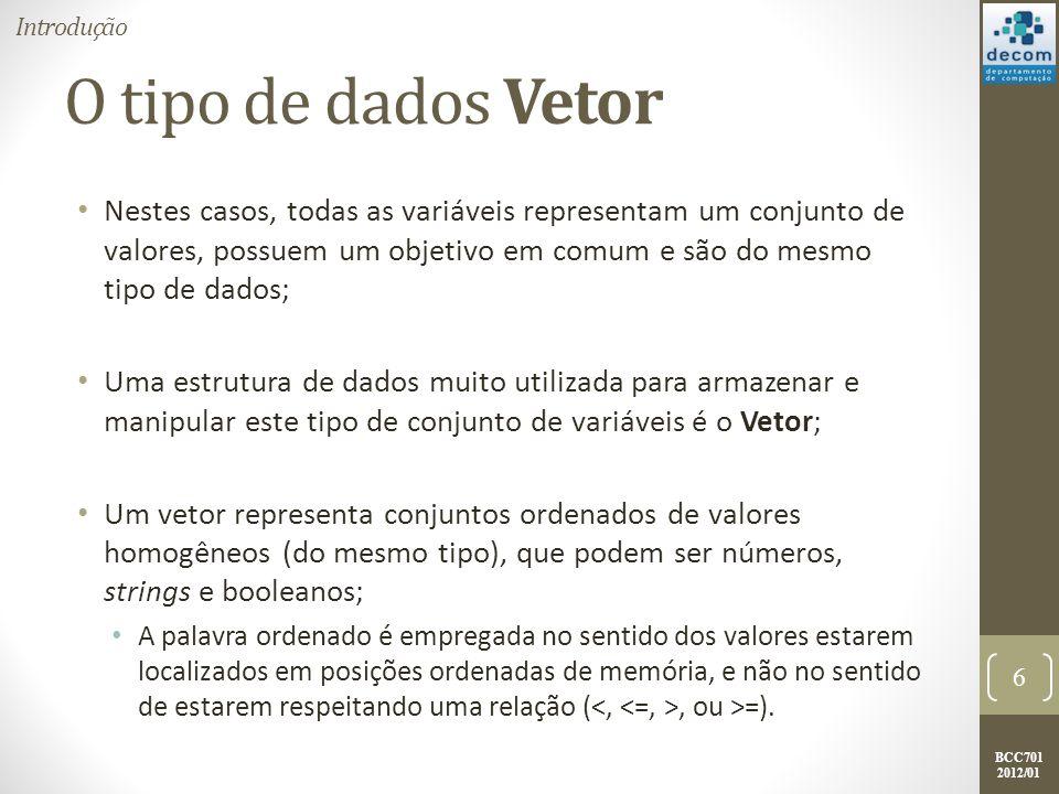 Introdução O tipo de dados Vetor.