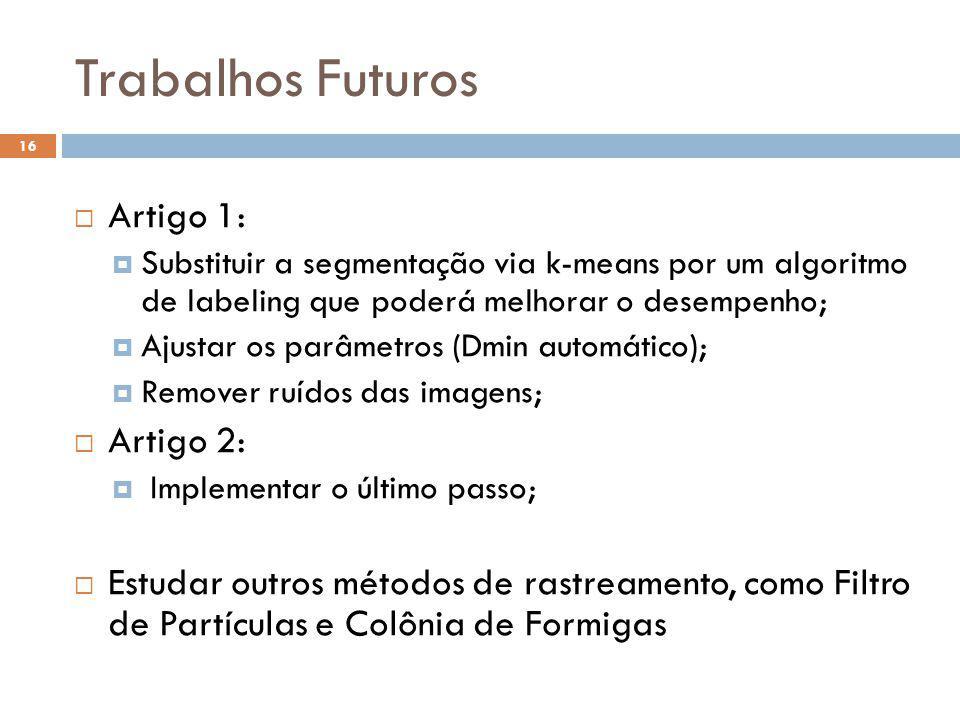 Trabalhos Futuros Artigo 1: Artigo 2: