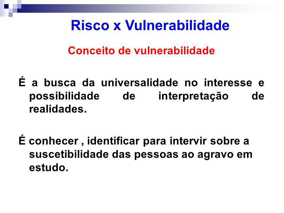 Risco x Vulnerabilidade Conceito de vulnerabilidade
