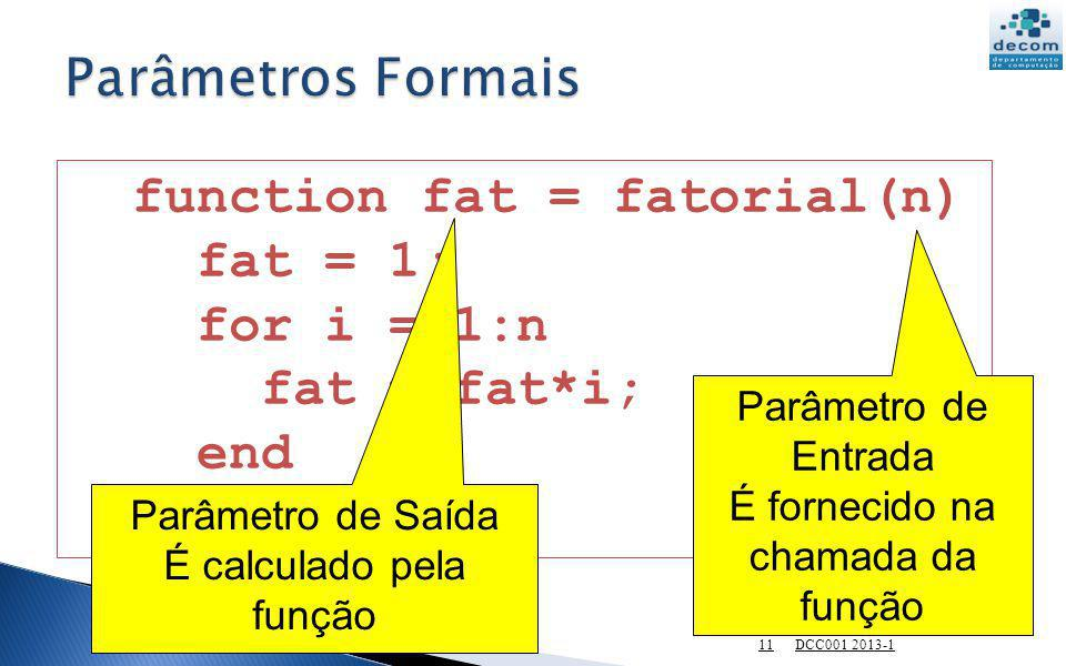function fat = fatorial(n) fat = 1; for i = 1:n fat = fat*i; end