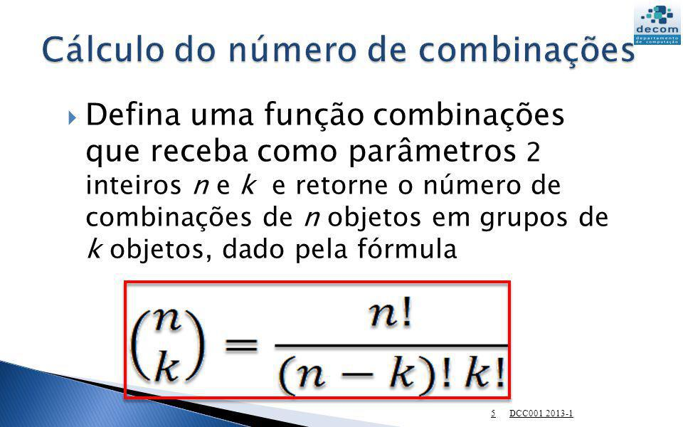 Cálculo do número de combinações