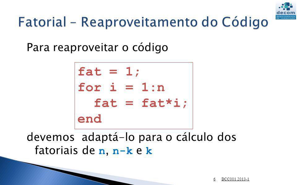 Fatorial – Reaproveitamento do Código