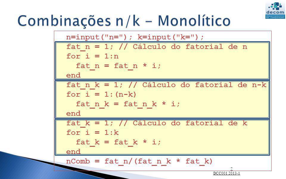 Combinações n/k - Monolítico