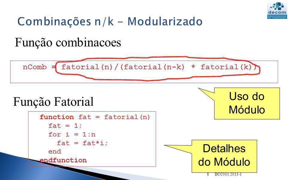 Combinações n/k - Modularizado