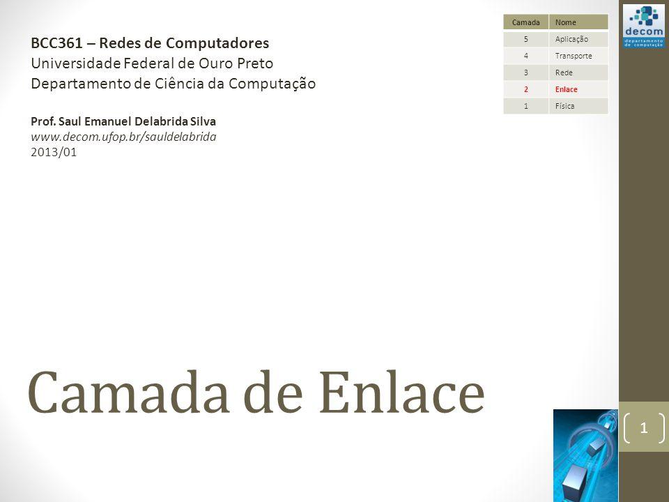 Camada de Enlace BCC361 – Redes de Computadores
