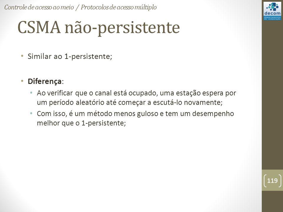 CSMA não-persistente Similar ao 1-persistente; Diferença: