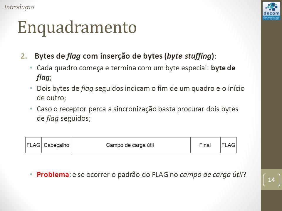 Enquadramento Bytes de flag com inserção de bytes (byte stuffing):