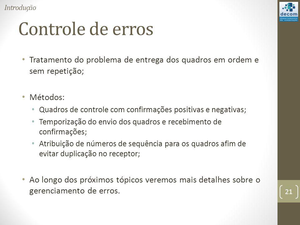 Introdução Controle de erros. Tratamento do problema de entrega dos quadros em ordem e sem repetição;