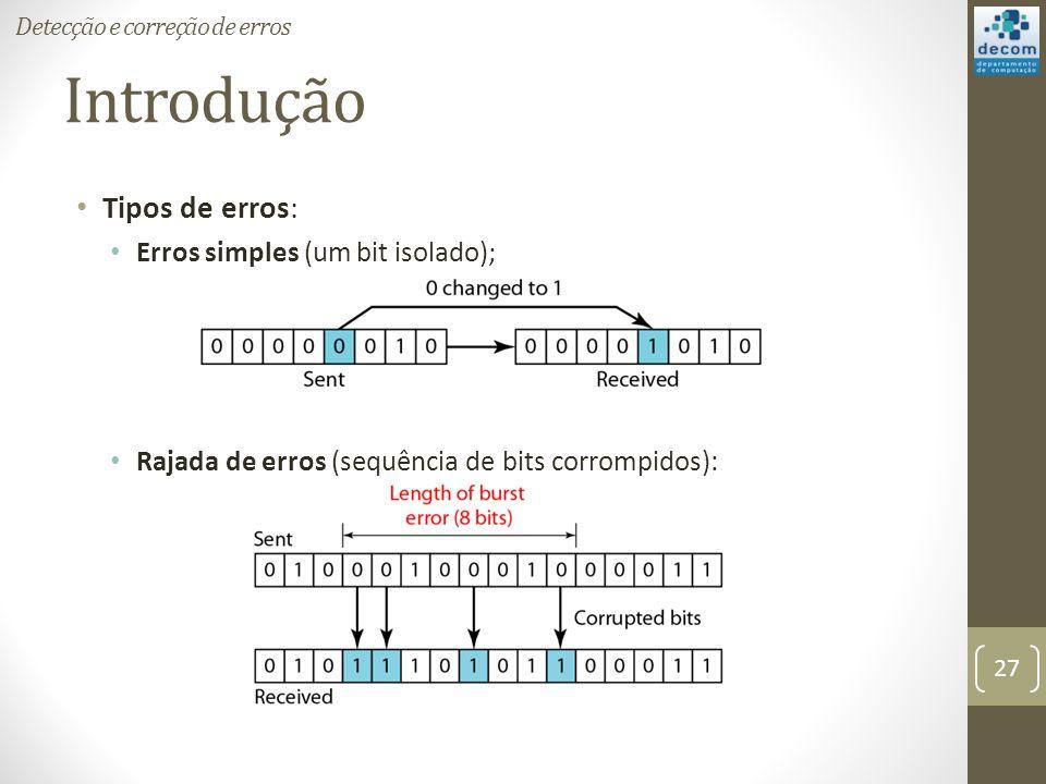 Introdução Tipos de erros: Erros simples (um bit isolado);