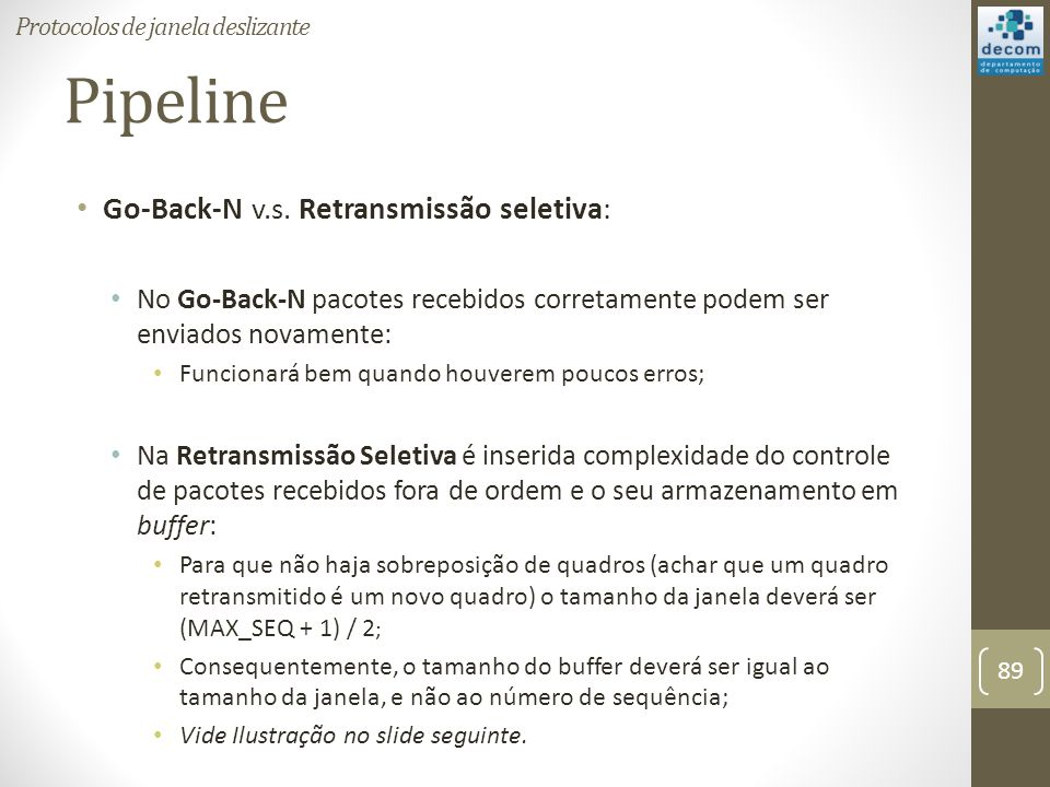 Pipeline Go-Back-N v.s. Retransmissão seletiva: