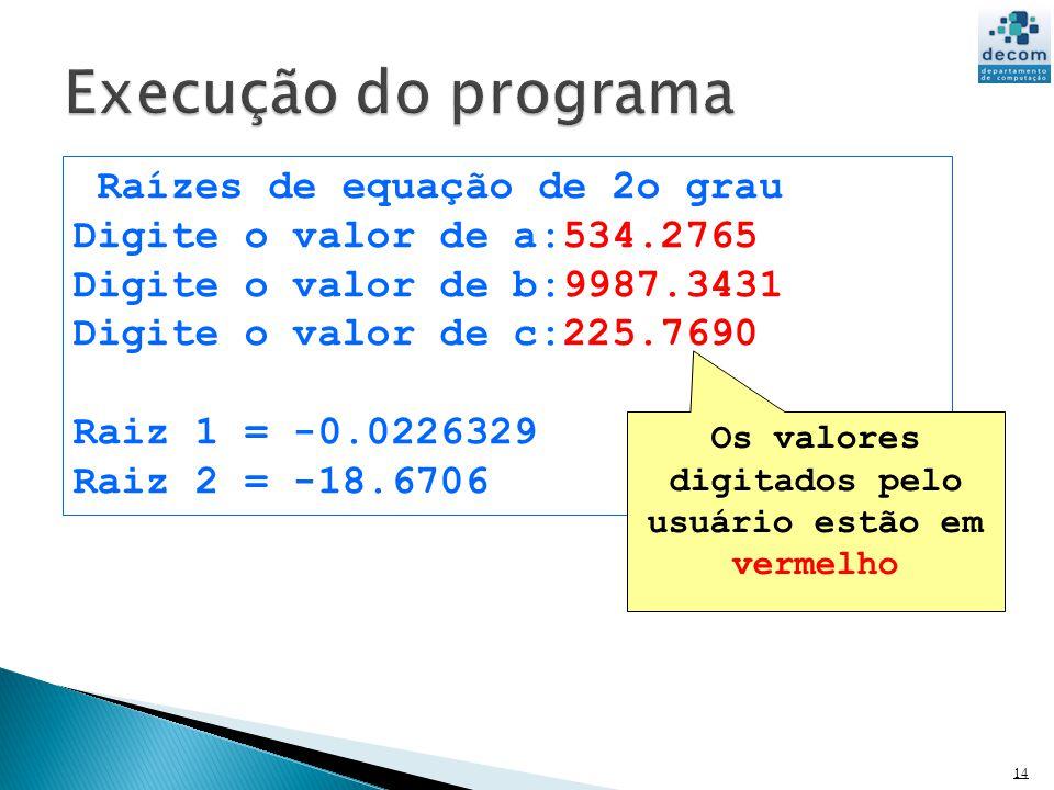 Os valores digitados pelo usuário estão em vermelho