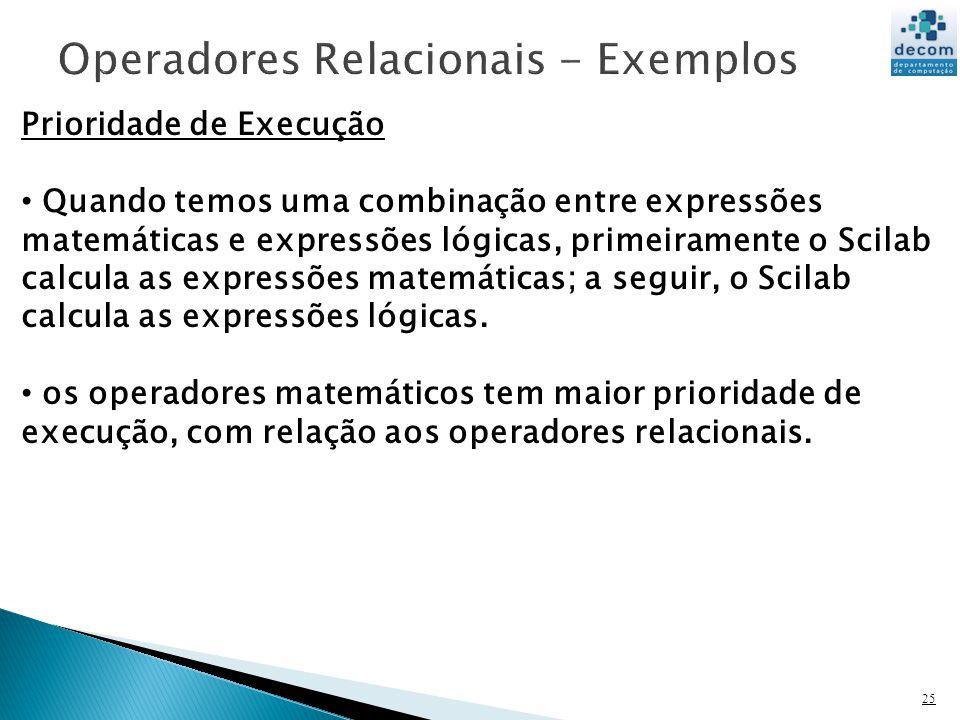 Operadores Relacionais - Exemplos