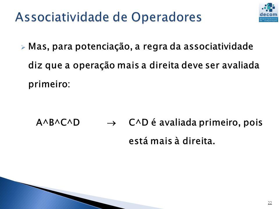 Associatividade de Operadores