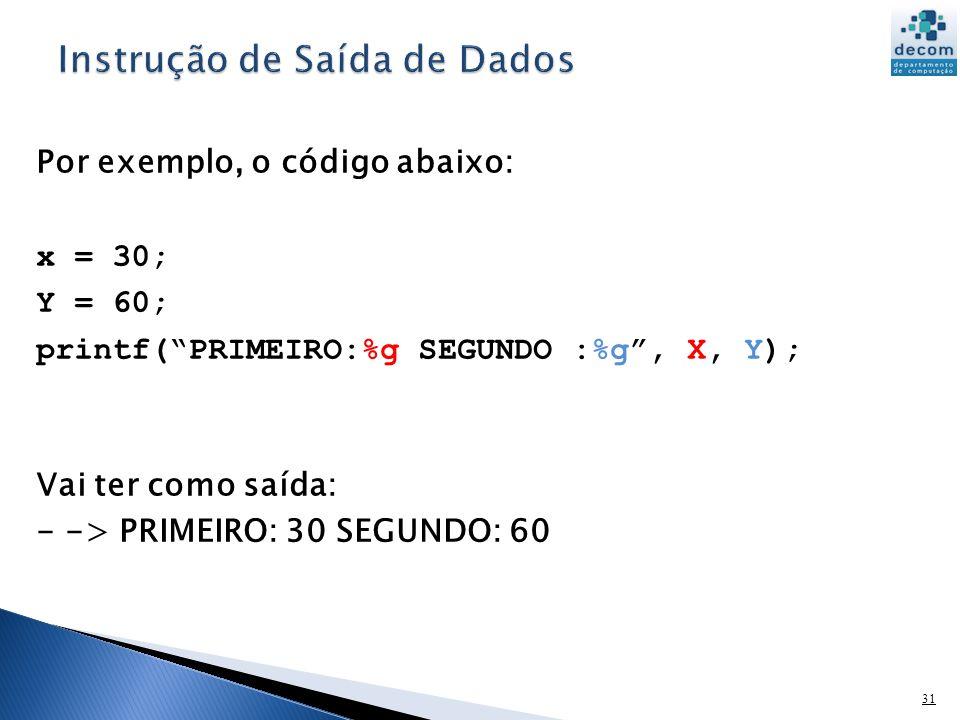 Instrução de Saída de Dados