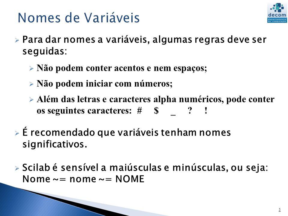 Nomes de Variáveis Para dar nomes a variáveis, algumas regras deve ser seguidas: Não podem conter acentos e nem espaços;
