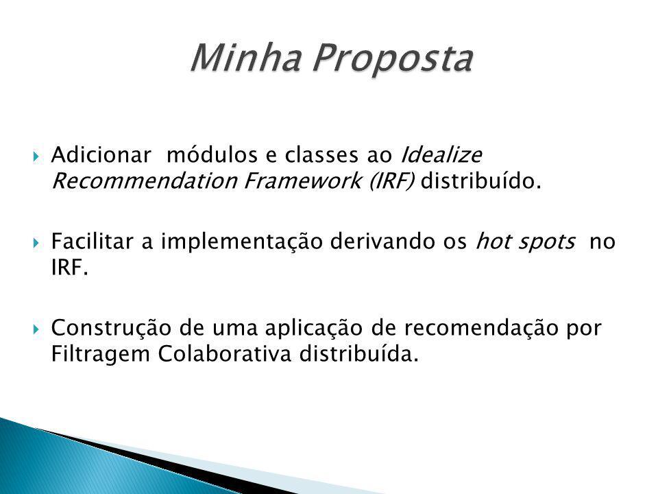 Minha Proposta Adicionar módulos e classes ao Idealize Recommendation Framework (IRF) distribuído.