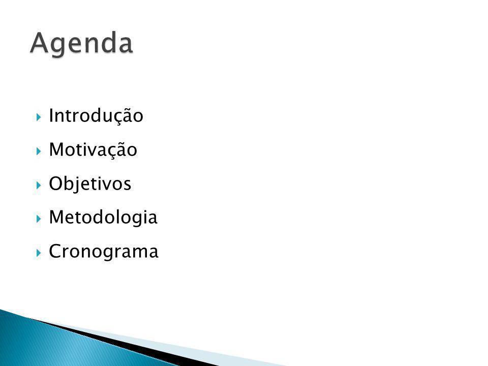 Agenda Introdução Motivação Objetivos Metodologia Cronograma