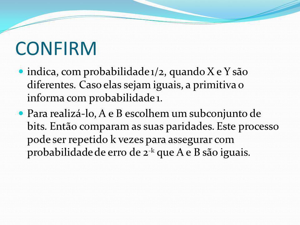 CONFIRM indica, com probabilidade 1/2, quando X e Y são diferentes. Caso elas sejam iguais, a primitiva o informa com probabilidade 1.