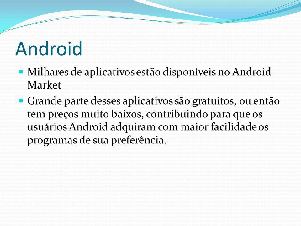 Android Milhares de aplicativos estão disponíveis no Android Market