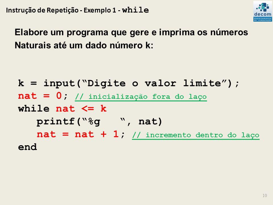 Instrução de Repetição - Exemplo 1 - while