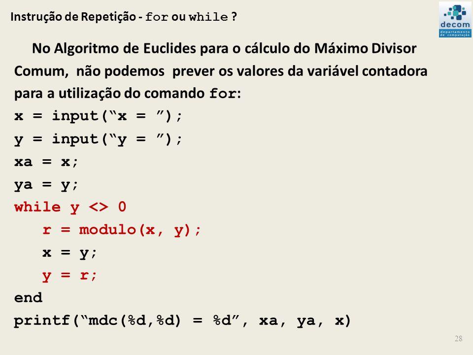 Instrução de Repetição - for ou while