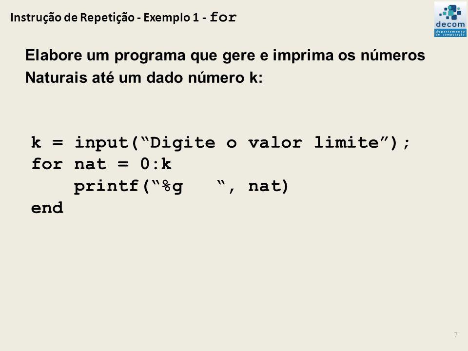 Instrução de Repetição - Exemplo 1 - for