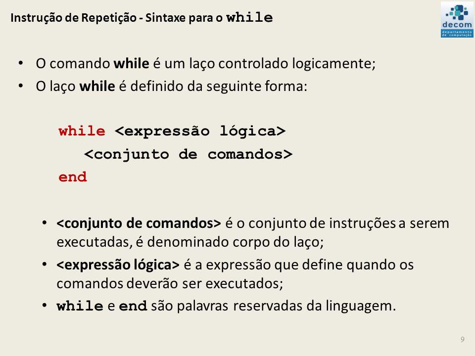 Instrução de Repetição - Sintaxe para o while