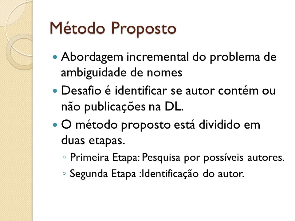 Método Proposto Abordagem incremental do problema de ambiguidade de nomes. Desafio é identificar se autor contém ou não publicações na DL.