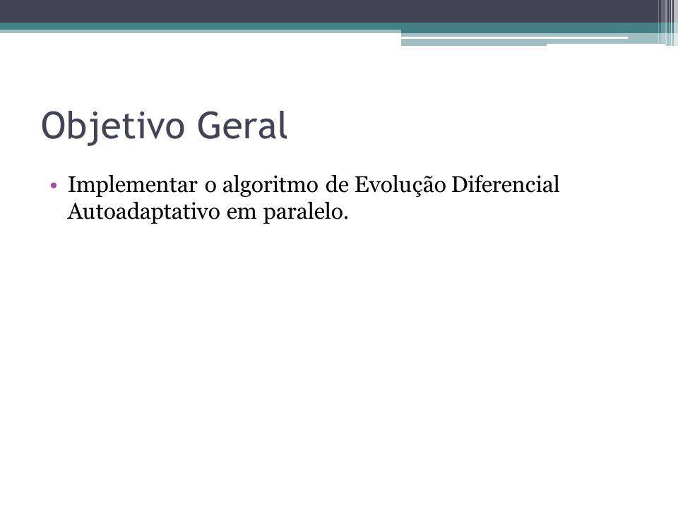 Objetivo Geral Implementar o algoritmo de Evolução Diferencial Autoadaptativo em paralelo.