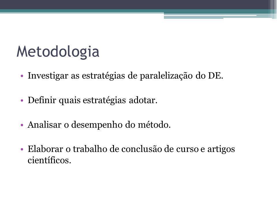 Metodologia Investigar as estratégias de paralelização do DE.