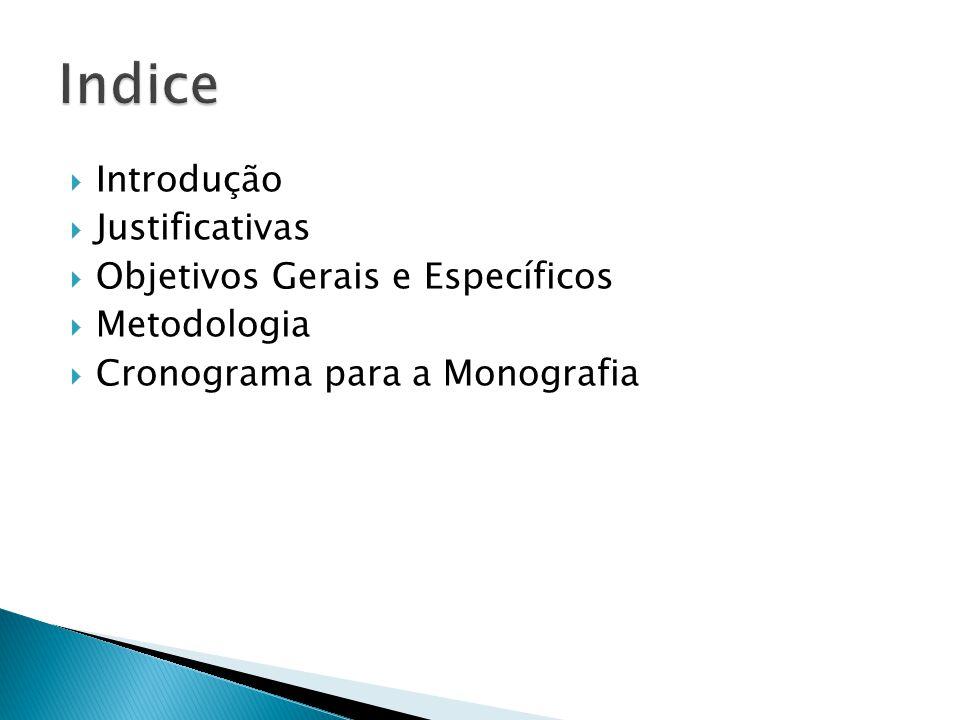 Indice Introdução Justificativas Objetivos Gerais e Específicos